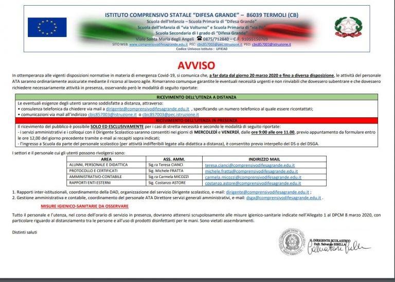 """Disposizioni circa l'organizzazione del servizio nell'Istituto Comprensivo """"Difesa Grande"""""""