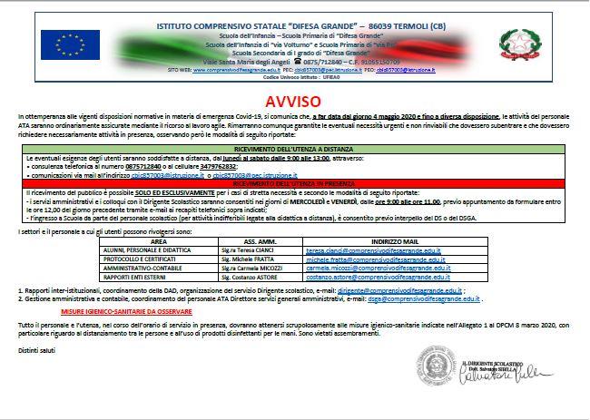 """Applicazione del D.L. 17 marzo 2020 n. 18 – disposizioni circa l'organizzazione del servizio nell'Istituto Comprensivo """"Difesa Grande"""", a decorrere dal 4 maggio 2020 e fino a diverse disposizioni"""