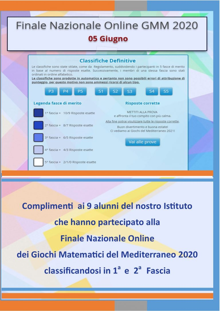 Finale Nazionale Online – Giochi Matematici del Mediterraneo 2020